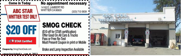 20 Off Smog Check Whittier Ca Star Station