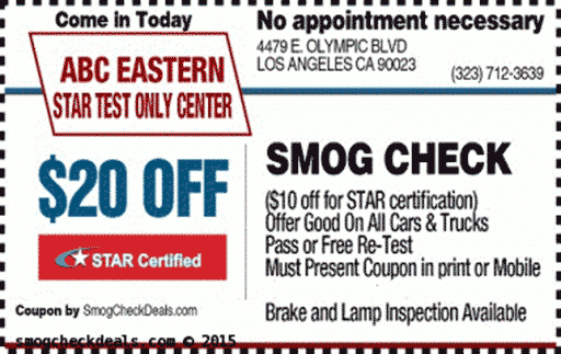 Star smog check coupons